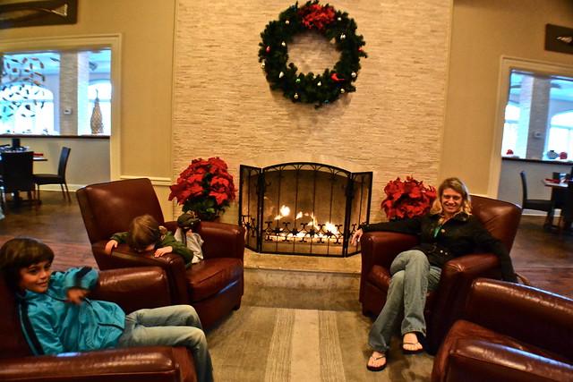 fireplace at plantation inn