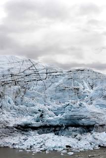 Glacier with fallen Ice Chunks White