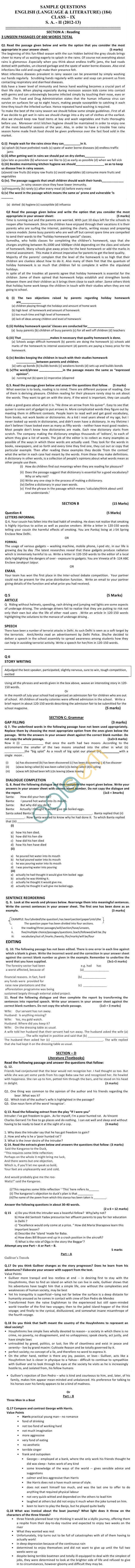 CBSE Board Exam Sample Papers (SA2) Class IX - English Lang. & Lit.