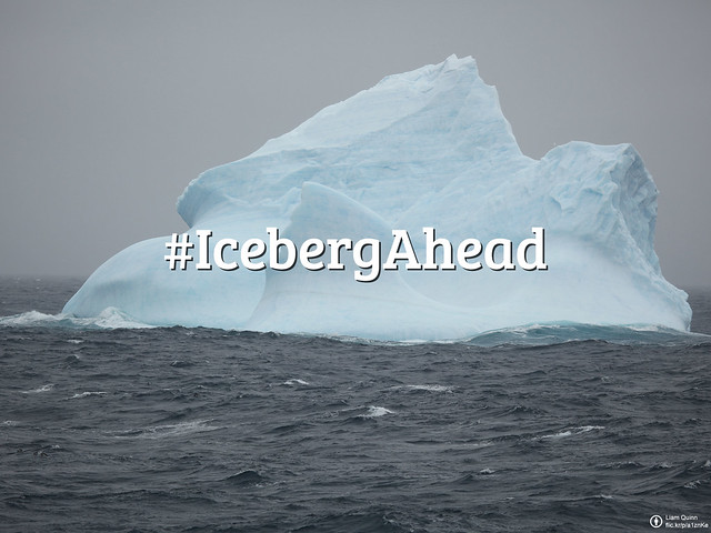 #FlickrFriday: Iceberg Ahead. Sometimes we have to face crisis in our life, just like an iceberg ahead. We can only see the 10% floating above the water, but the 90% under water is what really matters. Take a shot of it and share it for Flickr Friday!