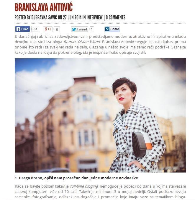 Intervju sa Branislavom Antovic za WuWu magazin