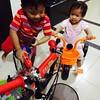 Tak nak tidur dua beradik ni.. #kidoftheday #bicycle #playtime