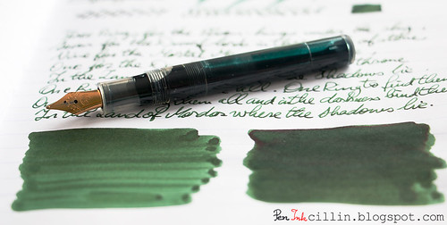 Diamine Evergreen shading with Kaweco