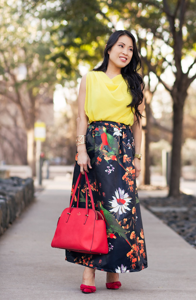 https://cuteandlittle.com | petite fashion blog | yellow chiffon top, sheinside floral parrot print skirt | justfab frances red bow pump | spring outfit
