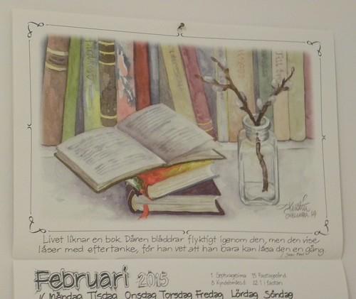 Calendar page February 2015, by Kerstin Svensson