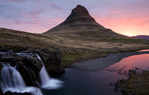 reflection sunrise dawn waterfall iceland stream kirkjufell