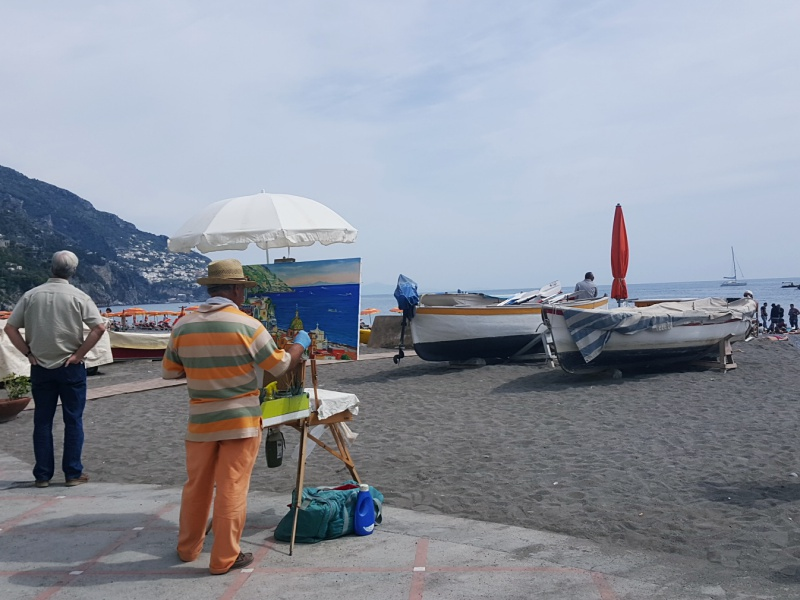 Positano beach painter