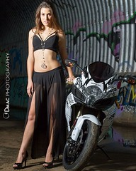 Group shoot in a massive storm drain. This is the lovely @anabelle37 and was our first meetup. It was a fun shoot with heaps of photographers and models. This shot has Anabelle posing with a Suzuki GSXR ( @suzukiaustraliabikes)  #DMacPhotography408 #fashi