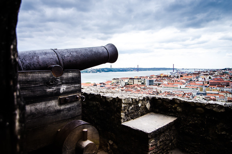 A retired canon guards St. George's Castle and offers a great city view of Lisbon.