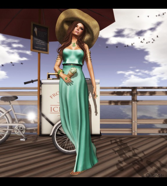 Baiastice_Hina Maxi dress-light emerald for FaMESHed & -Belleza- Ashley Summerfest SK 2 for Summerfest 13 & what next Sandbridge Ice Cream Cart  - Red