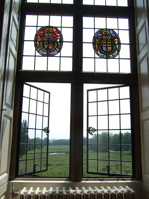 024 mad window Saloon stone mullions stained glass roundels w arms of kings queens England end 19th C lsc Capability Brown mid 18thc