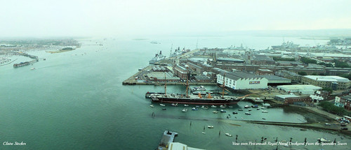 View over Portsmouth Royal Navy Dockyard from Spinnaker Tower by Stocker Images