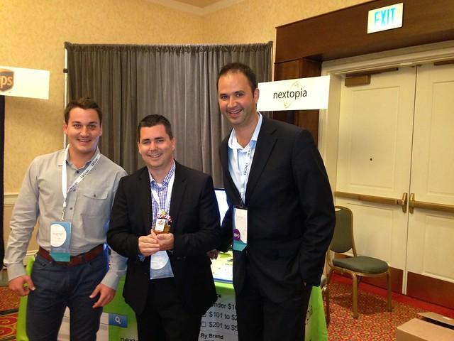 Nextopias Mike Latty (left) and Derek Wisniewski (right) with Yahoo!s Matt Cokely (center)