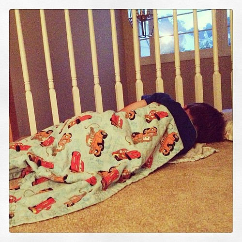 "#weekinthelife He came out of his room. Said, ""it's still sleep time!"" Went back in and shut the door. Minute later he's back out w/2 loveys and his Cars blanket and curling up in the hall. #preschooler #lethimstayuptoolatelastnight"