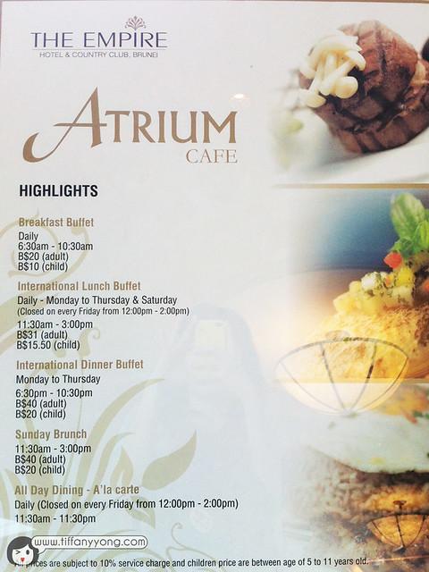 The Atrium menu