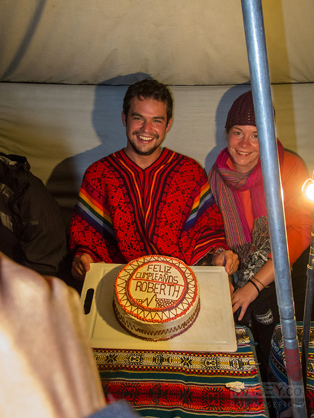 Celebrating Rob's birthday high in the Andes Mountains. Nice!