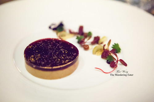 Foie gras with Concord grape gelée, Champagne grapes and spiced brioche