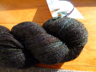 Tri'Coterie Merino Tencel Quoth the Raven Closeup