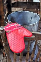 State Farm oven mitt with a turkey fryer