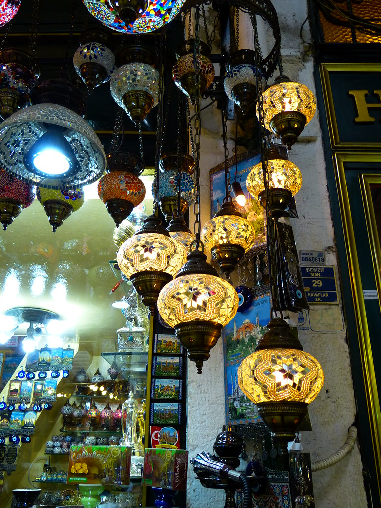 White mosaic lamps, Grand Bazaar, Istanbul