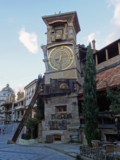 Clock tower at Rezo Gabriadze theatre