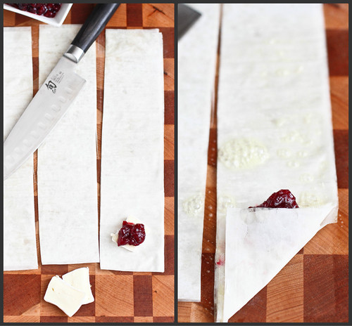 3-Ingredient Brie & Cranberry Phyllo Turnovers Recipe | cookincanuck.com #appetizer