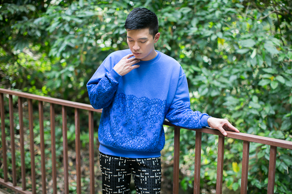 Christopher Kane lace sweatshirt, Resort 2014, worn by fashion blogger Bryanboy