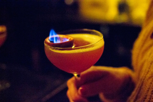 flaming cocktails in London