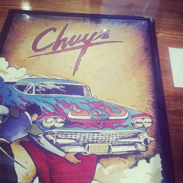 "Getting to be a ""pretend customer"". Chuy's for the win. Weekend made. (it opens Tuesday, fyi)"