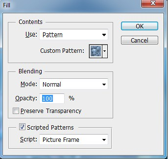 Image of Fill Dialog Box with Scripted Patterns selected