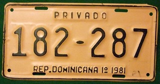 DOMINICAN REPUBLIC 1981 1ST SEMESTER ---PRIVATE LICENSE PLATE