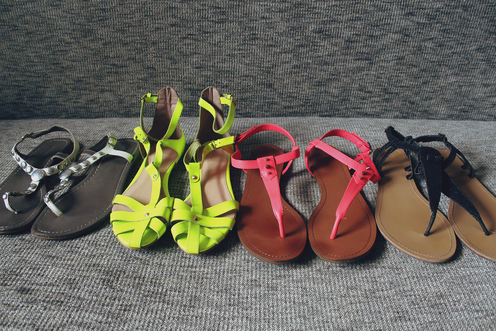 white, neon green and neon pink, black sandals