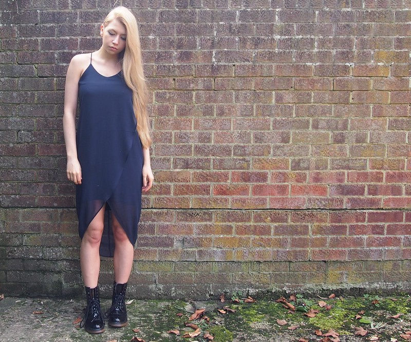 H&M, SS14, Slip Dress, Spaghetti Strap, V-Cut, Mixi, Drop Hem, Primark, Patent, DMs, Doc Marten Style Boots, Sam Muses, UK Fashion Blog, London Style Blogger, How to Wear, Styling Ideas, Outfit Ideas, Grunge, '90s, Nineties