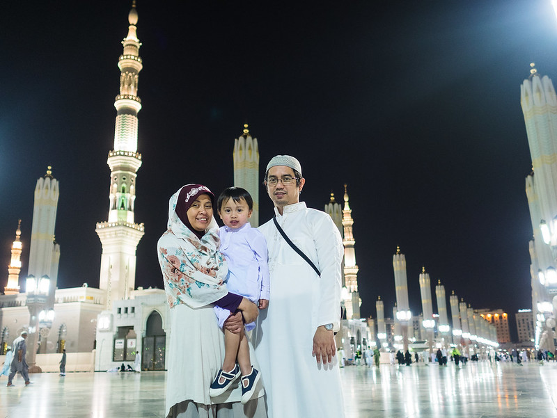 Family portrait at the courtyard of Prophet's Mosque, Madinah