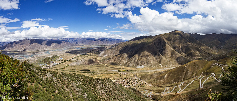 Lhasa Valley Panorama - Ganden, Tibet