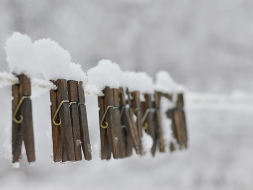 snowy clothes pins