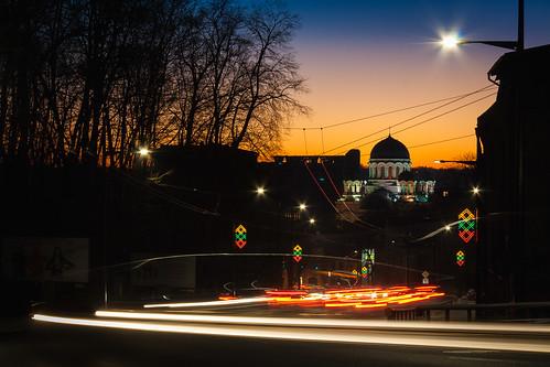 street city longexposure sunset sky colors canon eos colorful kitlens carlights lithuania kaunas soboras lietuva gatvė parodos 1000d