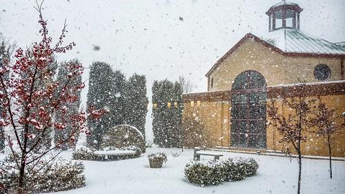 A snowy day at Pittsburgh's La Roche College