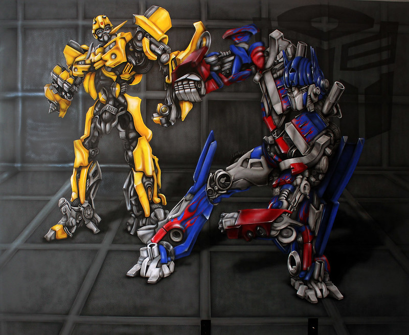 Brayden's Transformer Optimus Prime and Bumblebee Mural - (Dave Schaeffer)