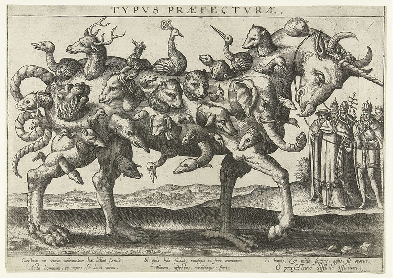 Pieter van der Borcht, Philips Gale, Cornelis Kilaan - Allegory on the difficulty to govern a diverse nation, 1578