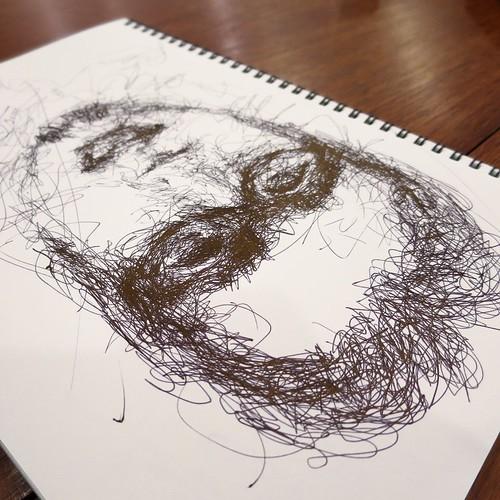 昨日描いた自画像の落書き。