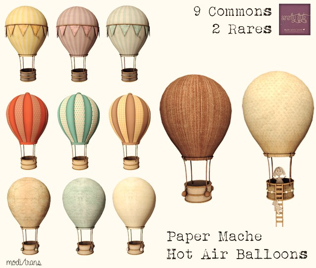 Serenity Style- Paper Mache Hot Air Balloons- Gacha Key