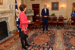 U.S. Secretary of State John Kerry listens as newly sworn-in U.S. Ambassador to Mexico Roberta Jacobson addresses colleagues and staff during a ceremony at the U.S. Department of State in Washington, D.C., on May 5, 2016. [State Department photo/ Public Domain]