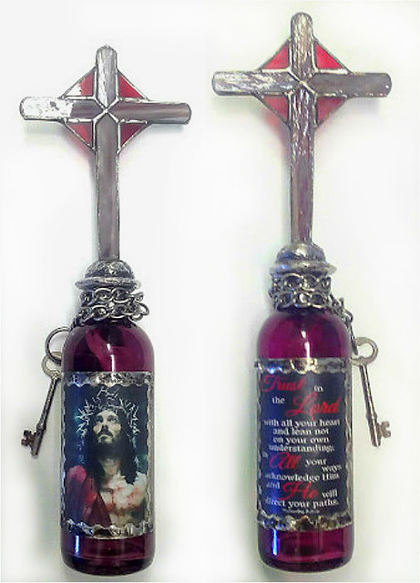 Altered Bottle with Jesus