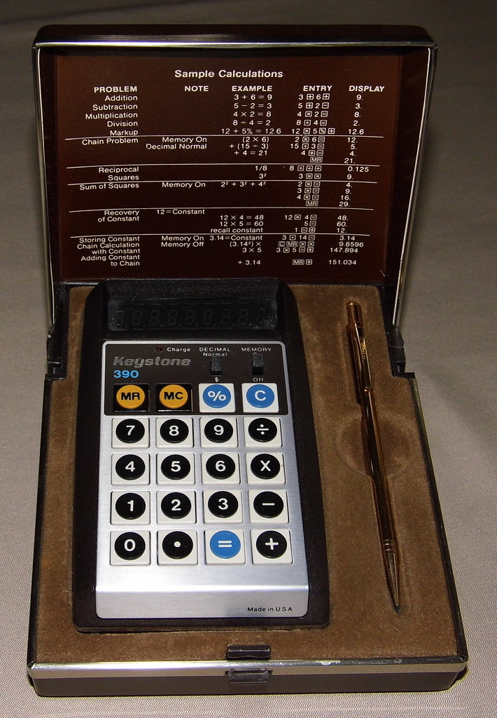 Vintage Keystone Model 390 LED Pocket Calculator in Clamsh