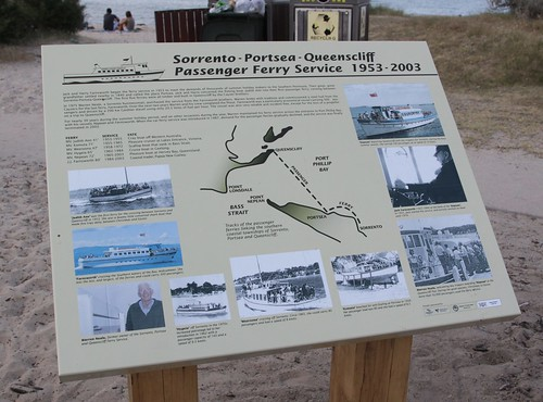 Signage at Sorrento Pier detailing the history of the Sorrento - Portsea - Queenscliff ferry
