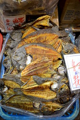 Stack of dried sole fish
