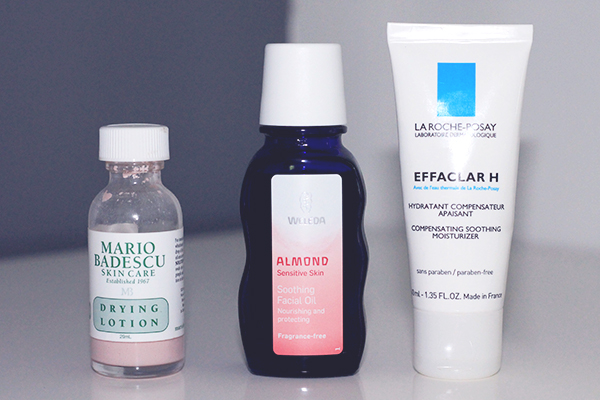Skincare Redness Solutions featuring Mario Badescu Drying Lotion, Weleda Almond Soothing Facial Oil and La Roche-Posay Effaclar H