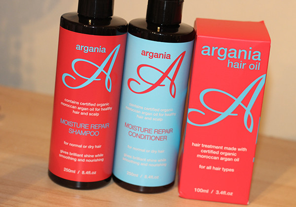 A review of Argania Haircare including Moisture Repair Shampoo, Moisture Repair Conditioner and Argania Hair Oil