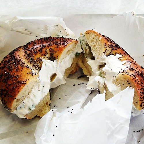 Poppyseed bagel, scallion cream cheese and...